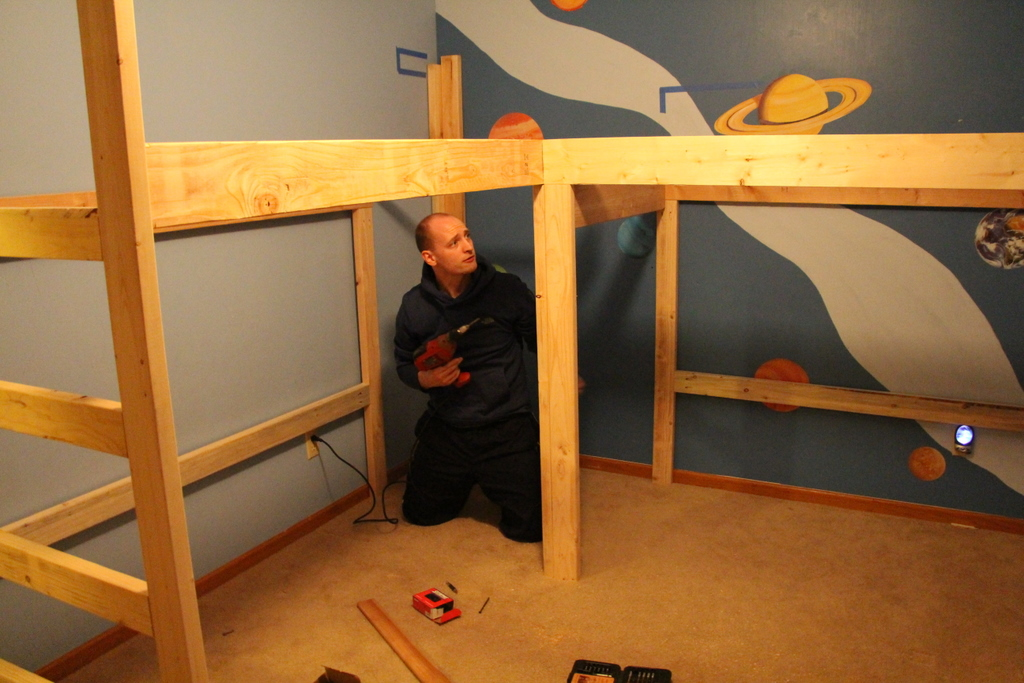 boys room makeover diy l shaped loft beds part i timandmegnet bunk beds toddlers diy