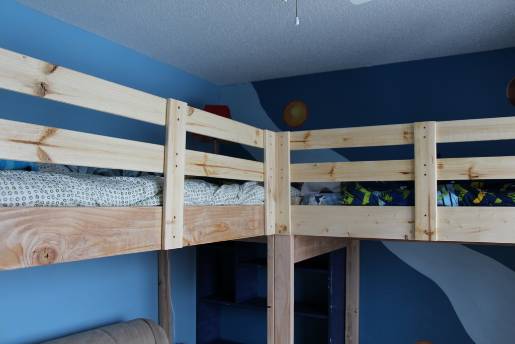 Boys Room Makeover Diy L Shaped Loft Beds Part I