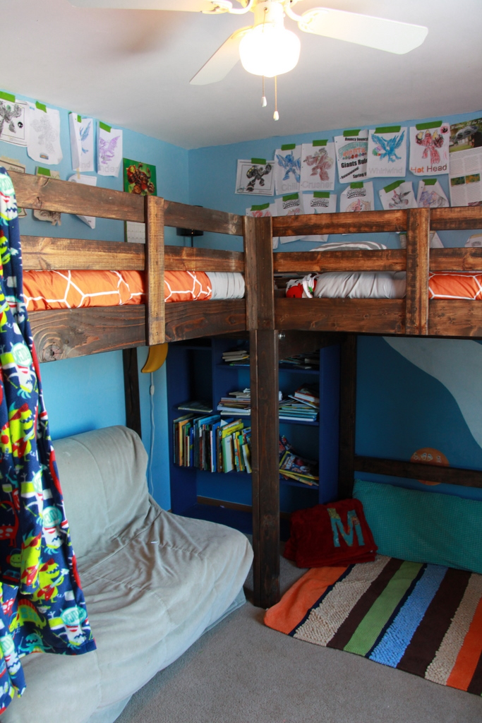 I Took A Few Photos Of The Boys Room When It Was All Picked Up People Have Requested To See More And Info On L Shaped Loft Beds We Diyed
